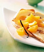 Apricot compote with thin crepes