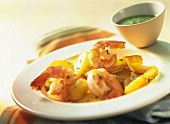 Shrimps with roast potatoes