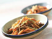 Asian vegetable stir-fry with beef fillet