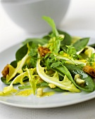 Dandelion and sorrel salad with cheese and croutons