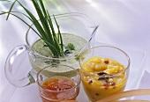 Green sauce; mango chutney; chili sauce