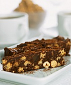 Chocolate cake with nuts and biscuits