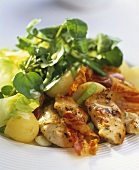 Chicken breast with bacon and potato & watercress salad