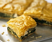 Savoury filo pastry pie with spinach and feta
