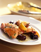 Lemon chicken with olive sauce