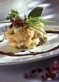 Calf's sweetbread with cheese topping and cassis sauce