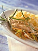 Steamed coley fillet with julienne vegetables & noodles