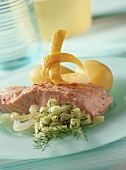 Steamed salmon slice with cucumber salad & boiled potatoes