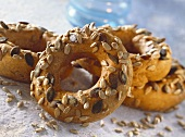 Bread rings with pumpkin and sunflower seeds
