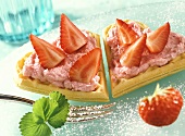 Waffles with strawberry mousse and strawberries