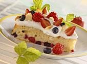 A piece of berry torte with vanilla cream