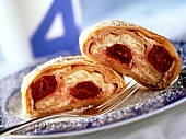 Curd cheese strudel with cherries (for diabetics)