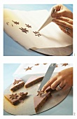 Making chocolate decorations (e.g. chocolate stars)