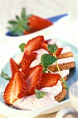 Strawberry quark dessert on wholemeal biscuits