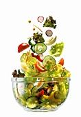 Salad Ingredients Falling