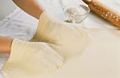 Stretching strudel pastry