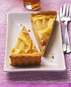 Two pieces of pear tart