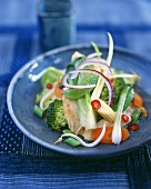 Asian vegetable salad with chicken breast