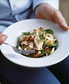 Orecchiette pasta with salmon and spinach