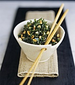 Crispy fried Bok choy (Chinese cabbage) with pine nuts