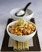 Asian cashew and chicken pan, served in bowl