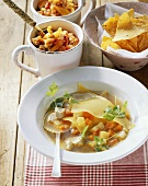 Chicken soup with vegetables and lasagne sheets
