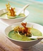 Ramsons & coconut soup with shrimps & egg noodles