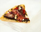 A piece of beef steak pizza