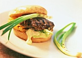 Hamburger with barbecued meat and pineapple