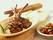 Barbecued lamb chops with chili and honey marinade
