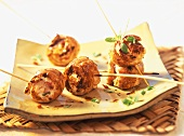 Barbecued turkey rolls with feta stuffing