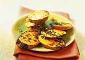 Barbecued sweet potato slices