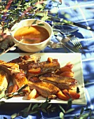 Spare-ribs with apricot and ginger sauce
