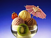 Mixed ice cream sundae decorated with a parasol