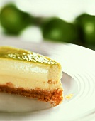 A piece of lime cheesecake