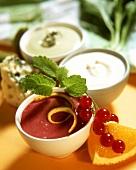 Redcurrant dressing; cream dressing; Roquefort sauce