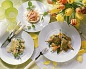 Spring menu with lamb, asparagus crepe & rhubarb tart