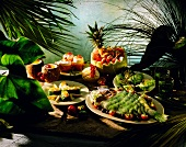 West Indian buffet with vegetable dishes, fish, desserts