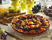 Fruit tart with autumn fruits