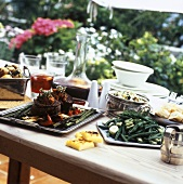 Buffet of beans, polenta, barbecued vegetables & Chateaubriand