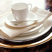 A table setting with large & small plates and coffee cup