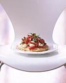 Pitta bread with tomatoes, pepper, mozzarella & basil