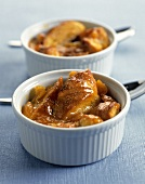 Apricot bread pudding in souffle dishes