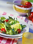 Mixed salad leaves with rocket and cherry tomatoes