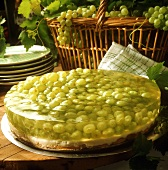 Grape gateau with white wine jelly
