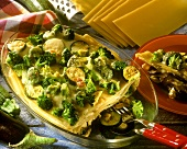 Lasagne with courgettes, broccoli and aubergines