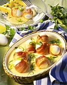 Ham and eggs in mustard sauce
