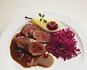 Venison fillet with red cabbage and pear