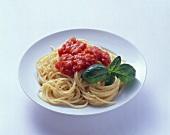 Spaghetti with tomato sauce and basil leaf