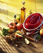 Ingredients with fruit, chestnuts and terrine dish